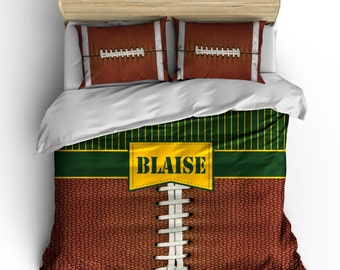 Personalized Team Color Stripes and  Football Theme Bedding - Personalized Name or Initials- Toddler, Twin, Full Queen, King