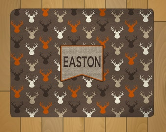 Deer Head Theme Plush Fuzzy Area Rug - Brown, Orange, Turquoise and Navy - Size 48x36,, 96x44, 96x60 - any colors available