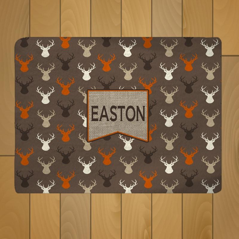 Deer Head Theme Plush Fuzzy Area Rug Brown Orange