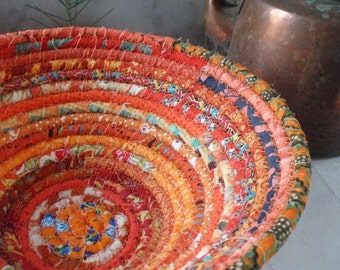 Orange Gypsy - Coiled Bohemian Basket, Catchall, Organizer for Your Desk or Dresser, Handmade by Me
