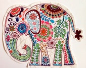 1 Jumbo Fabric Iron On Elephant Applique