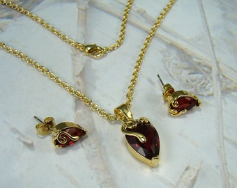 Vintage Heart Necklace and Earring Set Scrolling Red Heart Glass Pendant and Pierced Earrings Beautiful Elegant Design