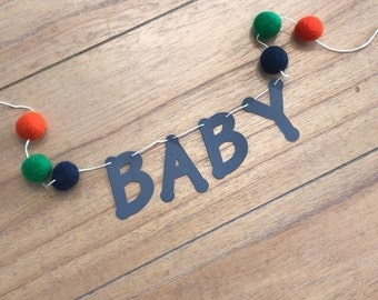 custom boy name banner with felt balls