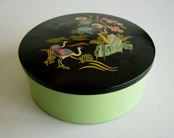 Vintage round tin with Japanese print / Art deco style biscuit, cookie or trinket box