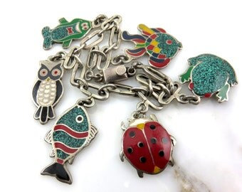 Vintage Castelan Mexican Enamel Charm Bracelet