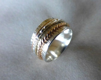 Sterling Spinner Ring, Wide Band Ring, Meditation Ring, Hammered Silver and Gold Spinner Ring, Wedding Band, Size 5-3/4