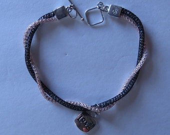 Black and Rose Gold Twisted Bracelet with love/heart charm