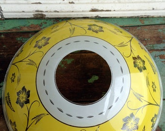 Vintage Retro Mid Century Glass Ceiling Light Cover Shade Fixture Yellow Flowers