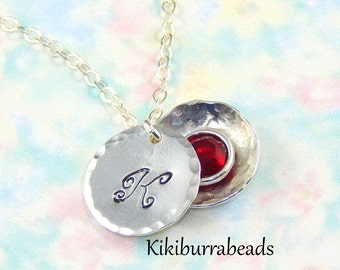 Initial Necklace with birthstone,Hidden birthstone necklace,Birthstone locket necklace,birthstone locket pendant,choose initial birthstone