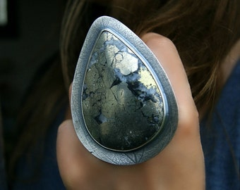 RESERVED - Sunrise Shore - Pyrite Sterling Silver Ring