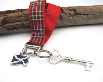 NEW Red Tartan Wrist Lanyard - Keychain - Dangling Scottish Flag & Skeleton Key
