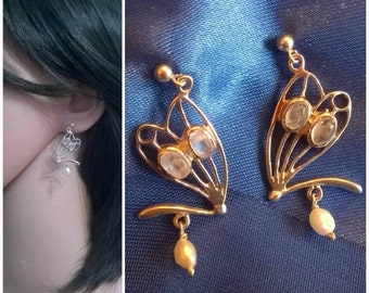 Art Nouveau style silver rainbow moonstone pearl dragonfly or butterfly earrings
