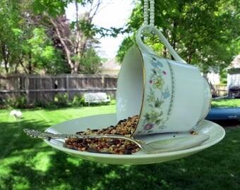 Teacup Bird Feeder, Repurposed Vintage China Teacup, China Cup Bird Feeder, Backyard Decor - TCBF120