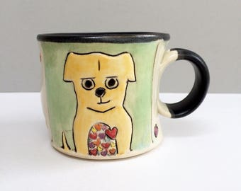 RESERVED FOR STELLA.  Small Dog Mug, Dog Full of Love Green Mug with Hearts, Ceramic Coffee Mug or Tea Mug, Animal Pottery