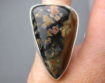 Priday Plume Agate Ring Sterling Silver Ring, size 5.5