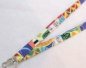 Allegro Jazz Musical Notes Fabric Lanyard Breakaway Lanyard Designer ID Badge Holder Clip Key Ring Fob Colorful Patchwork MTO