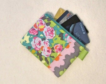 Amy Butler Fabric Business Card Case Coin Purse Zipper Credit Card Case Card Holder Wallet Violette Meadow Blooms Wavy Stripe Turquoise Pink