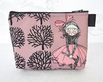 Ghastlies Hammer Girl Halloween Fabric Cosmetic Bag Makeup Bag Zipper Gadget Pouch Alexander Henry Black Mauve Cordelia Ghastlie TGM