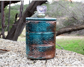 RAKU JAR POTTERY Lidded Container Handmade Pottery