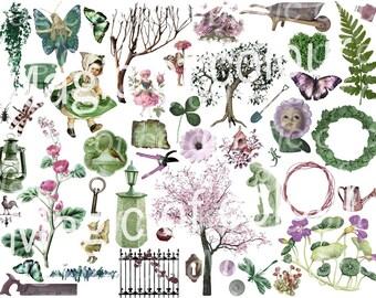 Digital Collage of Green and Pink Garden Illustration  - 40   JPG images - Digital  Collage Sheet