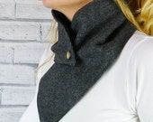 READY TO SHIP Women's Buttoned Scarf - Charcoal Herringbone Yorkshire Tweed