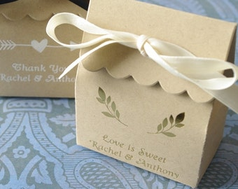 Rustic Emblems Personalized Kraft Scallop Favor Box (SET OF 25) Baby shower, bee theme, reception decor bridal shower