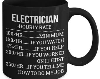 Electrician Hourly Rate Funny Tradesperson Coffee Mug