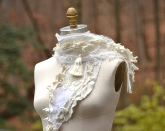 Textured white SCARF with silk tassel, beaded appliqués and pearls for Winter weddings/ boho refashioned OOAK Shawl/ romantic Wrap