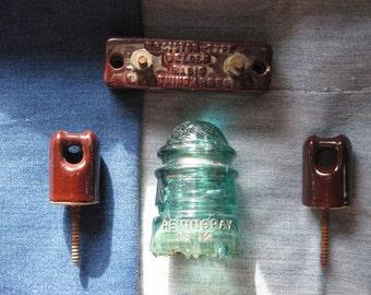4 Vintage Glass Insulator / Resistors