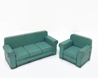 Strombecker Couch & Armchair - Blue Wooden Dollhouse Furniture