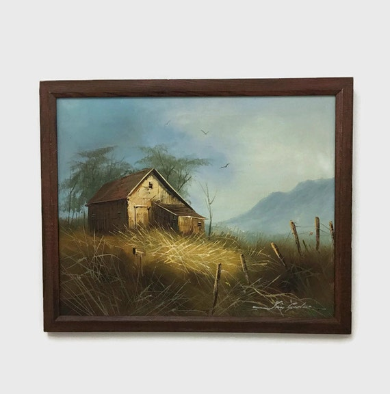 Vintage Barn Oil Painting - Large Rustic Country Scene - Wood Frame - Cabin Decor