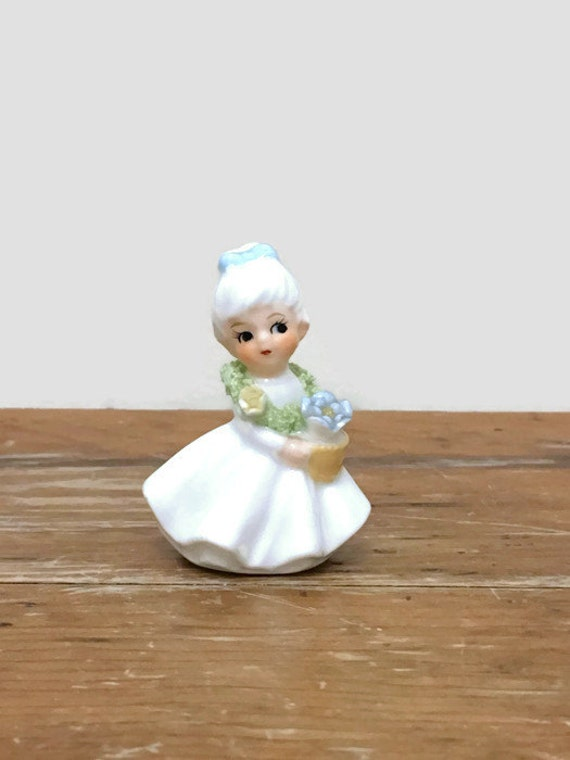 Napcoware Flower Girl of the Month Miniature Figurine - Bone China - 1950s