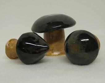 Three Little Porcelain Mushrooms
