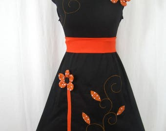 Orange and black Chihiro dress and embossed flowers
