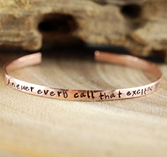 Yoga Inspired Bracelet, Personalized Cuff Bracelet, Skinny Cuff, Answer every Call that excites your spirit, Inspirational Bracelet
