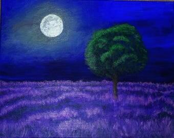 Fine Art Paintng Lavender Fields by Moonlight