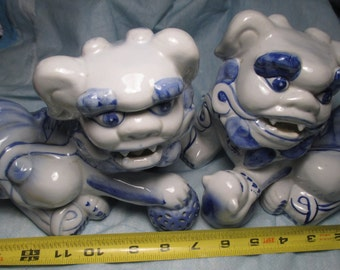 Pair of Blue & White Porcelain CHINESE FOO DOGS dog Chinese guardian lion Asian Decor Protector Good Luck