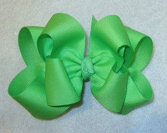 Girls hair bows, Double layer bow, Girls Hairbows, Mint Green Bow, Large hairbows, big bow, 4 5 inch hairbows, stacked bow, Green HairBows