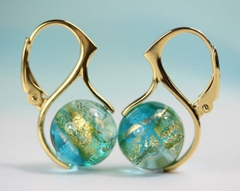 Aquamarine Gold Foil Murano Glass bead European Lever back earrings in gold plated sterling, art4ear, gift for her under 50USD, sea blue