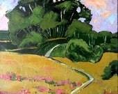 Impressionist Painting Plein Air California Landscape Eucalyptus Wildflower Hills Lynne French 16x20