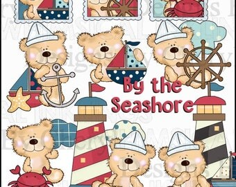 Happy Bears By The Sea Clipart Collection - Immediate Download
