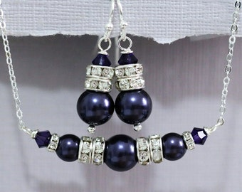 Swarovski Dark Purple Pearl and Purple Velvet Crystal Necklace and Earring Set, Bridesmaid Gift, Bridesmaid Jewelry Set