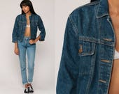 90s Denim Jacket Jean Jacket Blue Trucker Jacket 80s Vintage Biker NO EXCUSES Button Up Hipster Women Extra Small xs