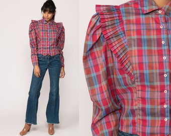 Plaid Shirt PUFF Sleeve Blouse 80s Shirt Western Country Button Down Top 1980s Vintage Pink Blue Long Sleeve Ruffle Medium