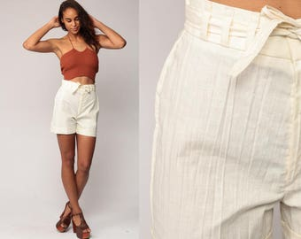 Cotton Shorts Off White Shorts CUFFED High Waist Shorts 80s BELTED Summer Hipster 70s High Rise Vintage Retro Small