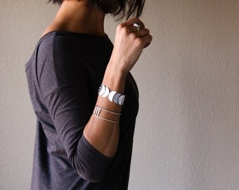 Callisto bracelet - lunar shape sterling silver bracelet