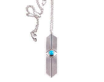"""Striking sterling silver necklace with high grade Sleeping Beauty American turquoise set among patterned geometric shapes - """"Axis Necklace"""""""