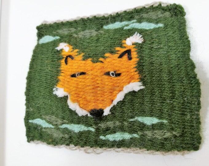 Fox handmade tapestry weaving framed