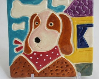 4 1/2 x 4 1/2 x 12 Dog with Scarf porcelin tile with easel