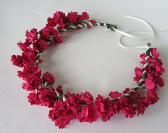 Cerise floral crown, small flowers on a rustic vine, available as full crown or with ribbon ties, summer boho hair accessories